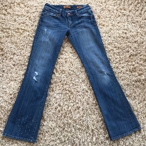 Seven7 Bootcut Distressed Splatter Jeans Size 26